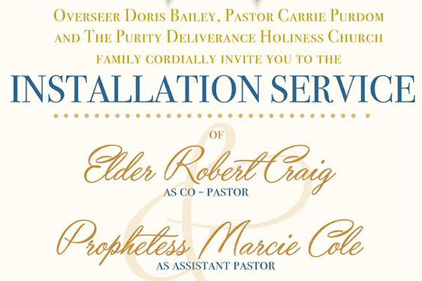 Installation Service Purity Deliverance Holiness Church